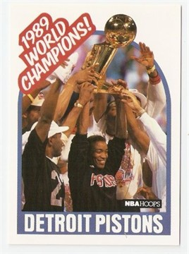 Detroit Pistons 1989 NBA Champions 1989-90 Hoops insert card set (2)