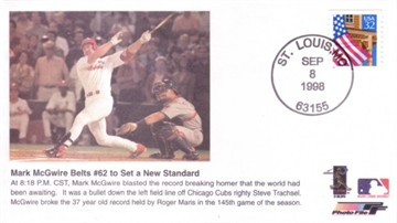 Mark McGwire Home Run 62 1998 cachet envelope (passes Maris)
